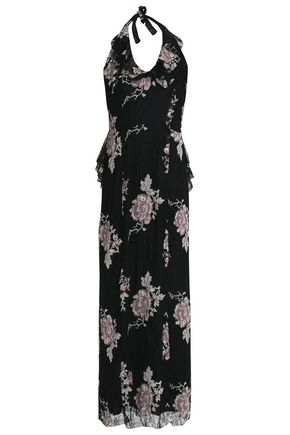 ANNA SUI Ruffle-trimmed embroidered lace halterneck gown