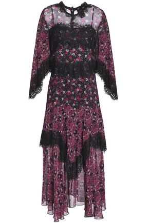 ANNA SUI Lace-trimmed printed georgette midi dress