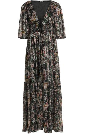 LOVE SAM Cold-shoulder floral-print metallic chiffon maxi dress