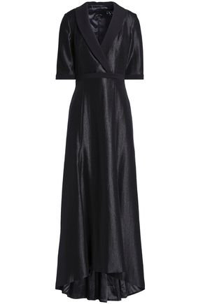 BLACK HALO EVE by LAUREL BERMAN Jovine wrap-effect coated-crepe gown