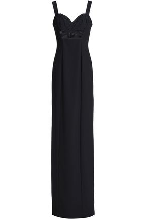 BLACK HALO EVE by LAUREL BERMAN Rosalita floral-appliquéd cutout crepe gown