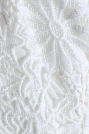 BLACK HALO Jackie O draped cotton guipure lace jumpsuit