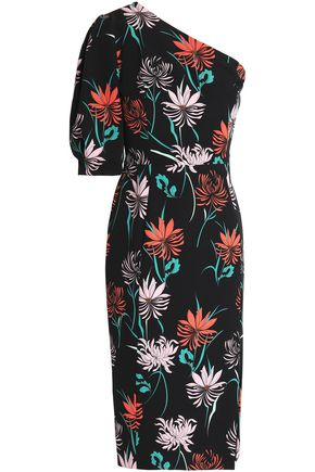 BLACK HALO Beckham one-shoulder floral-print crepe dress