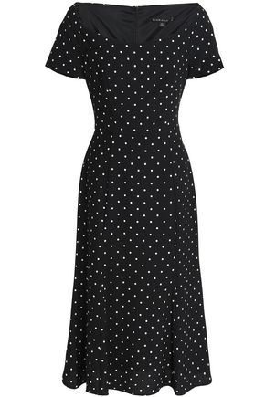 BLACK HALO Polka-dot crepe midi dress
