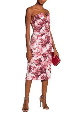 BLACK HALO Lena strapless floral-print crepe dress