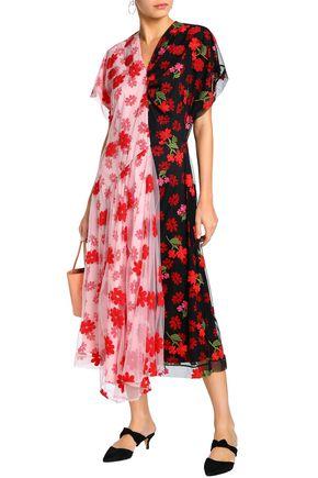 8ddd5da2f063 SIMONE ROCHA Layered embroidered tulle and printed crepe de chine jumpsuit