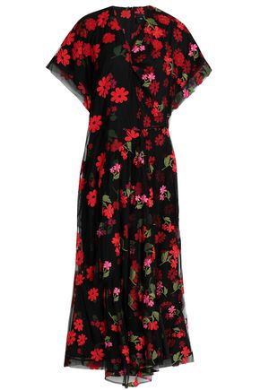 SIMONE ROCHA Layered embroidered tulle and printed crepe de chine jumpsuit
