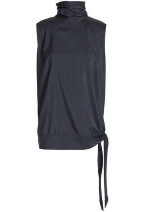 BRUNELLO CUCINELLI Knotted stretch-silk turtleneck top