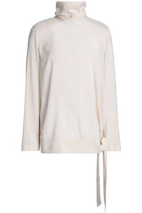 BRUNELLO CUCINELLI Tie-front hammered stretch-silk turtleneck top