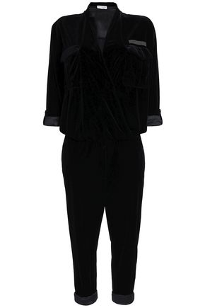 BRUNELLO CUCINELLI Cropped bead-embellished velvet jumpsuit