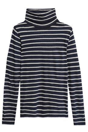 MAJESTIC FILATURES Striped cotton and cashmere-blend turtleneck top