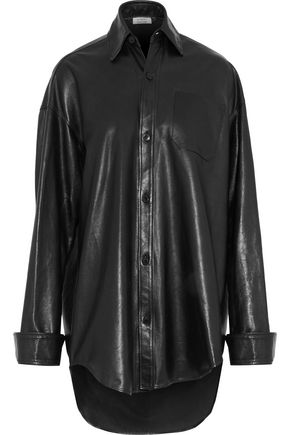 VETEMENTS Oversized brushed-leather shirt