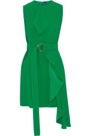 CALVIN KLEIN 205W39NYC Belted ruffled crepe mini dress