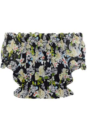 MARISSA WEBB Tiffany off-the-shoulder floral-print silk-georgette blouse