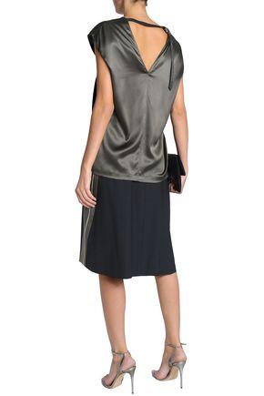 BRUNELLO CUCINELLI Cutout stretch silk-satin blouse