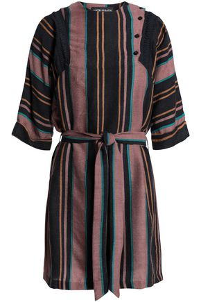 ANTIK BATIK Belted striped wool-flannel mini dress
