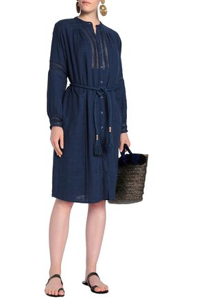 ANTIK BATIK Belted cotton-chambray shirt dress