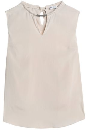 BRUNELLO CUCINELLI Bead-embellished stretch-silk crepe de chine top