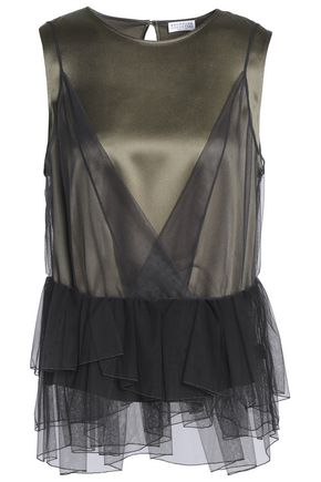 BRUNELLO CUCINELLI Layered embellished tulle and stretch-silk satin top