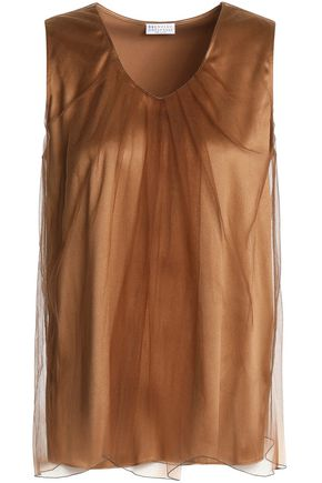 BRUNELLO CUCINELLI Layered tulle and silk-blend top