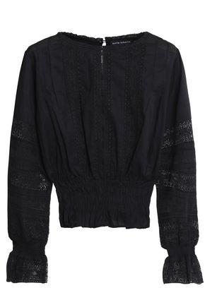 ANTIK BATIK Lace-trimmed shirred cotton-mousseline blouse