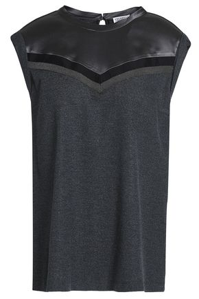BRUNELLO CUCINELLI Bead-embellished silk-satin and stretch-wool top