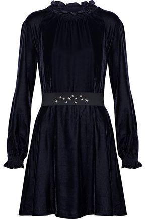 MAJE Rilea embellished velvet mini dress