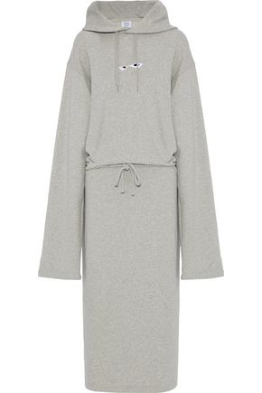 VETEMENTS Printed French cotton-blend terry hooded midi dress