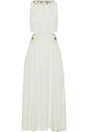 DEREK LAM 10 CROSBY Eyelet-embellished cutout crepe midi dress