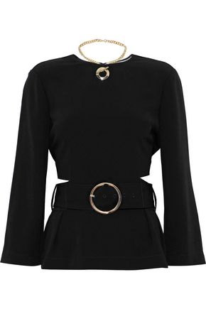 DEREK LAM 10 CROSBY Belted eyelet-detailed cutout crepe top