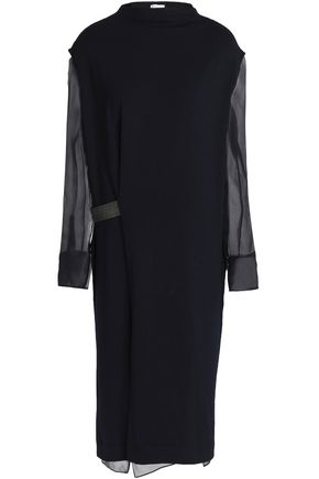 BRUNELLO CUCINELLI Silk georgette-paneled embellished wool-blend dress
