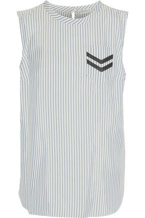 BRUNELLO CUCINELLI Bead-embellished striped silk top