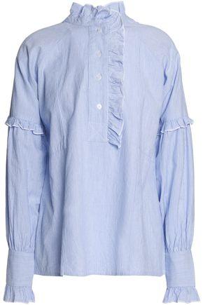 ANTIK BATIK Ruffle-trimmed striped cotton-poplin shirt