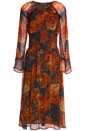 ANTIK BATIK Shirred floral-print georgette midi dress