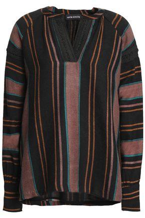 ANTIK BATIK Lace-trimmed striped wool blouse