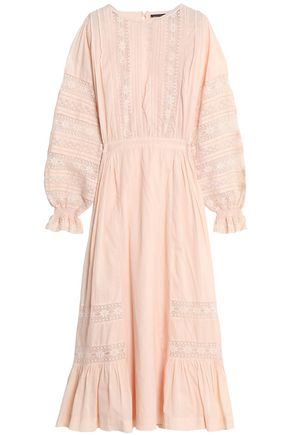 ANTIK BATIK Lace-trimmed cotton midi dress