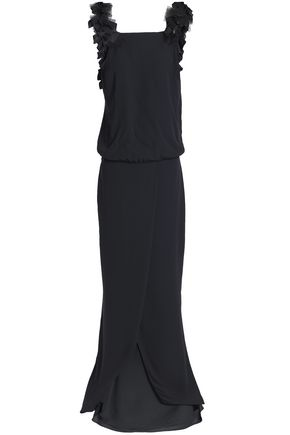 BRUNELLO CUCINELLI Tulle-trimmed silk-crepe gown