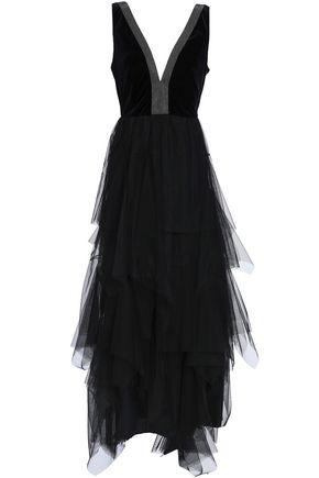 BRUNELLO CUCINELLI ビーズ付き ティアード チュール&ベルベット ロングドレス