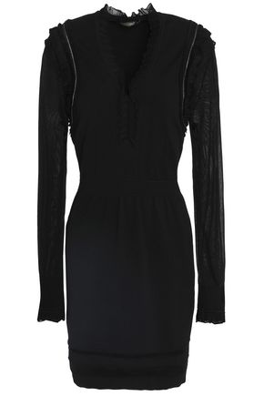 ROBERTO CAVALLI Embellished paneled ponte mini dress