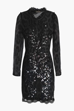 ROBERTO CAVALLI Open-back sequined leopard-print tulle mini dress