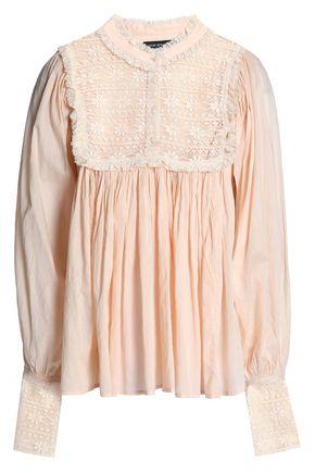 ANTIK BATIK Lace-paneled pleated cotton-gauze blouse