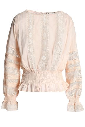 ANTIK BATIK Lace-trimmed shirred cotton-mousseline blouse