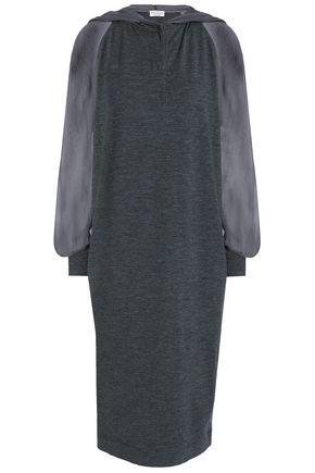 BRUNELLO CUCINELLI Chiffon-paneled mélange stretch-wool hooded dress