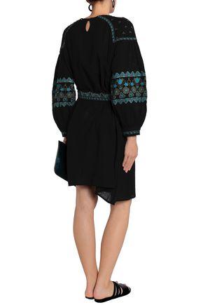 ANTIK BATIK Belted embroidered cotton dress