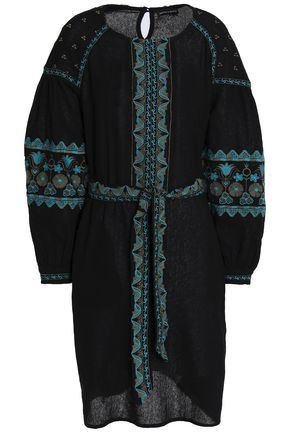 ANTIK BATIK Belted embroidered cotton dress