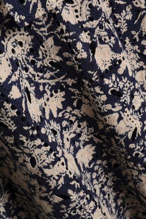 ANTIK BATIK Printed broderie anglaise cotton mini dress