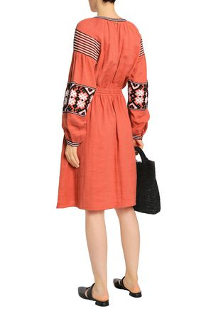 ANTIK BATIK Mobi embroidered cotton-gauze dress