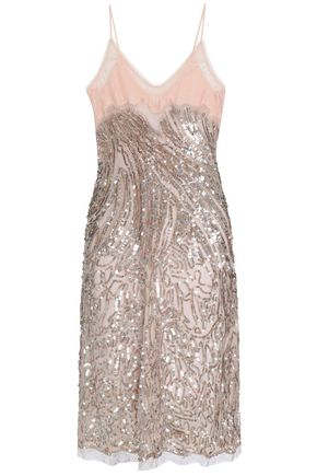 ROBERTO CAVALLI Lace-paneled embellished silk-tulle dress