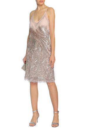 ROBERTO CAVALLI Lace-paneled embellished silk-tulle dress