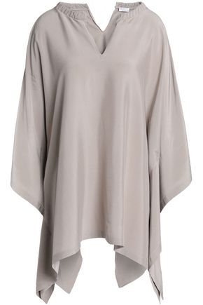 BRUNELLO CUCINELLI Asymmetric embellished stretch-silk top